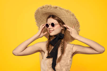 romantic lady in straw hat sunglasses