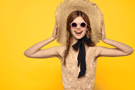 romantic lady in straw hat sunglasses model dress emotions