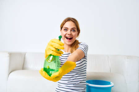 Woman with detergent in hands housework interior hygiene 免版税图像 - 157968247