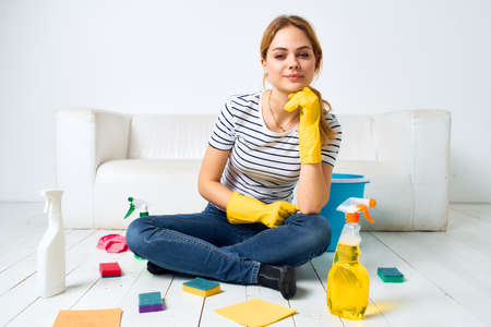 Cleaning lady at home detergent washing cooks lifestyle