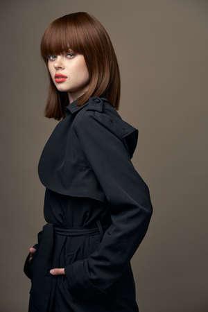 Beige background romantic lady Light skin coat