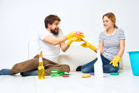Married couple joint cleaning girlfriend detergent lifestyle