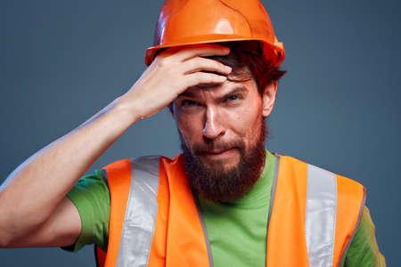 Man in orange construction work cropped view Stok Fotoğraf
