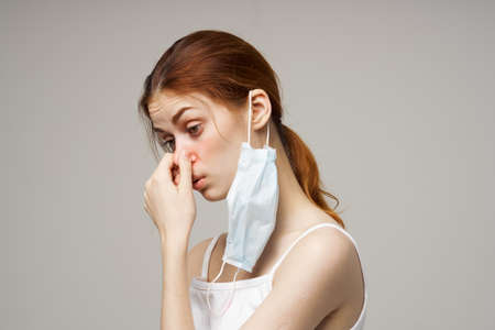 woman medical mask handkerchief health problems cropped view