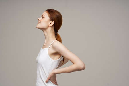 woman in white t shirt studio joy isolated background