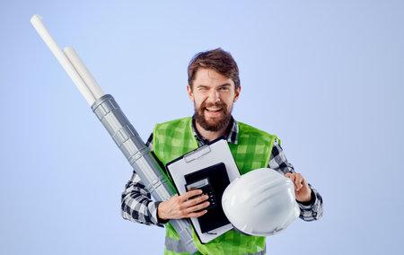 emotional man builder engineer blueprints work professional