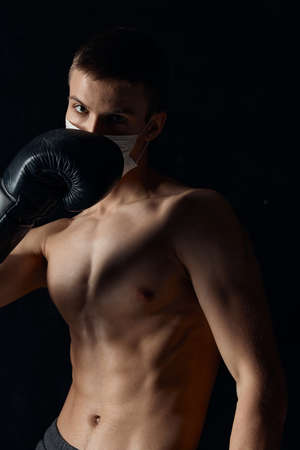 boxer gloved naked torso muscle fitness black background circumcision
