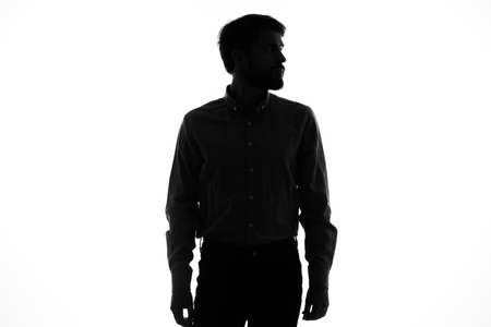 black silhouette of a man on a white background cropped view model Imagens