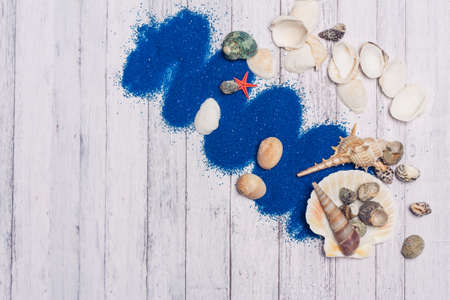 seashells decoration blue sand wooden background scenery ocean