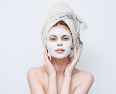 woman with shoulders face mask clean skin care