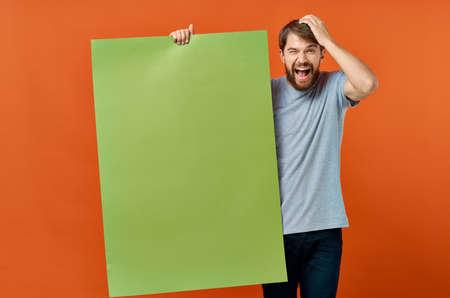 emotional man t shirts green mockup poster presentation marketing