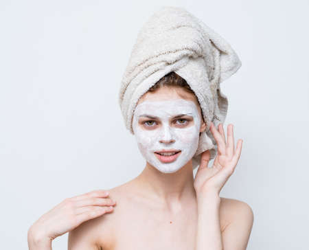 cheerful woman with face mask clean skin hygiene shoulders