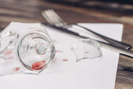 broken glass on the serving table napkin kitchenware