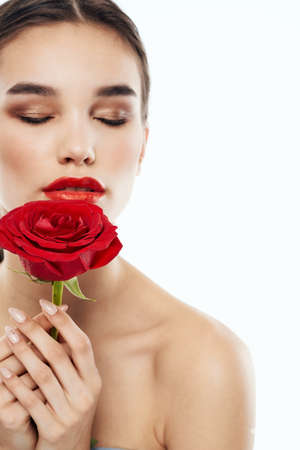 Charming people with bare shoulders red rose makeup eyeshadow