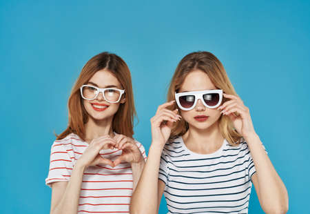 emotional girlfriends communication joy lifestyle blue background