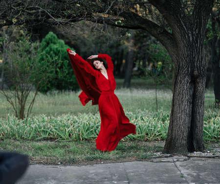 elegant woman in red dress posing near tree luxury summer Foto de archivo