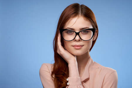 beautiful woman charm hand near face glasses studio attractiveness