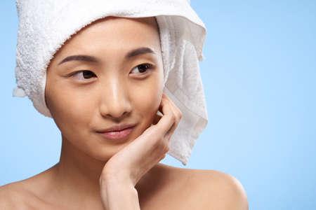 pretty woman towel on head clean skin health close-up