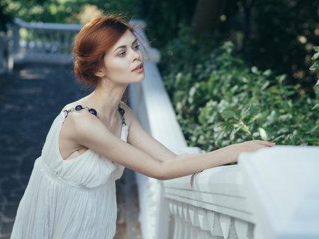 Woman in white dress Greece classical style mythology Foto de archivo