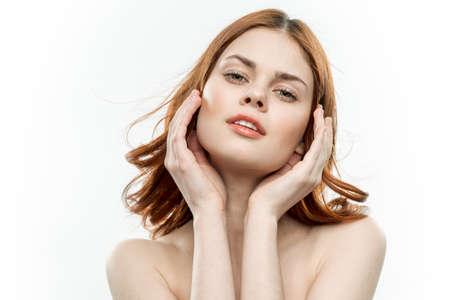 pretty woman attractive look smile luxury shoulders light background Stock fotó