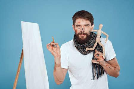 Artist in white t-shirt drawing layout art creativity