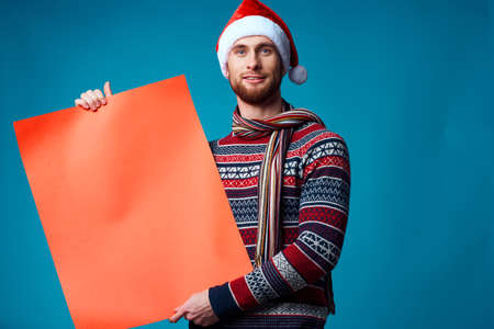 emotional man in New Years clothes advertising copy space studio posing