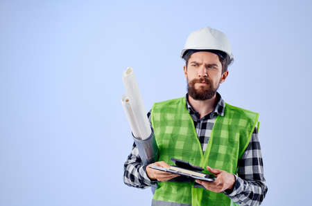 male worker construction work design profession isolated background