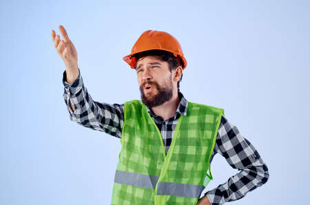 bearded man in working uniform construction building profession isolated background