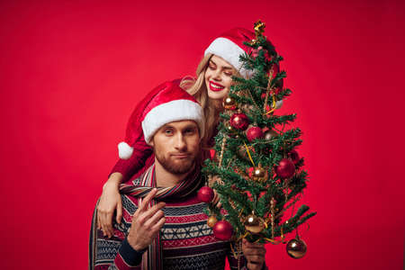 cheerful young couple christmas holiday together lifestyle
