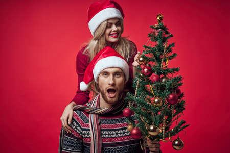 cheerful young couple christmas holiday romance together Standard-Bild