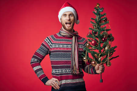 handsome man in a santa hat Christmas decorations holiday New Year studio posing Standard-Bild