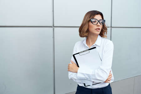 Businesswoman outside official job success work isolated background