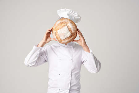 male cook Cooking bakery Professional emotions Banque d'images