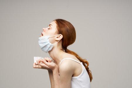 sick woman flu infection virus health problems light background