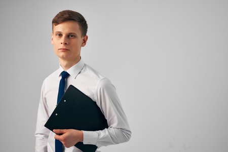 manager with documents in hands professional work entrepreneur office Banque d'images