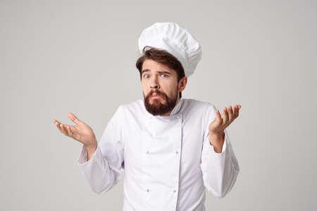 Man work uniform profession kitchen stuff light background