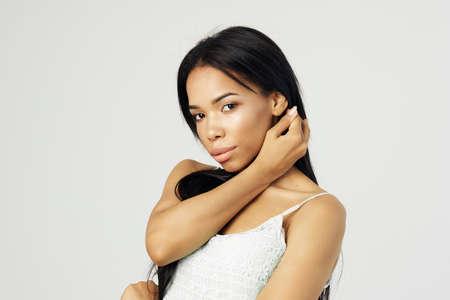 pretty woman fashion hairstyle cosmetics face closeup