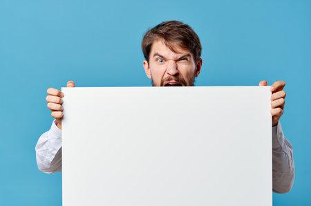 businessmen advertising white banner presentation blue background