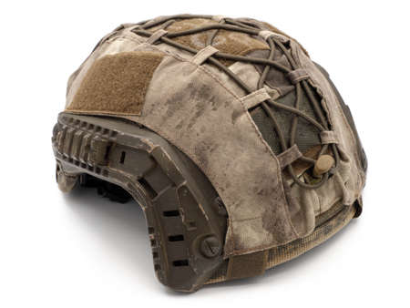 Us military tactical helmet for Chevron, case and straps Picatinny equipment. Photo isolated on a white background. The concept of weapons for airsoft and urban protests.
