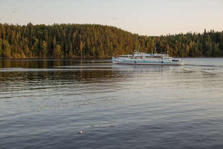 Motor ship in the Ladoga Lake