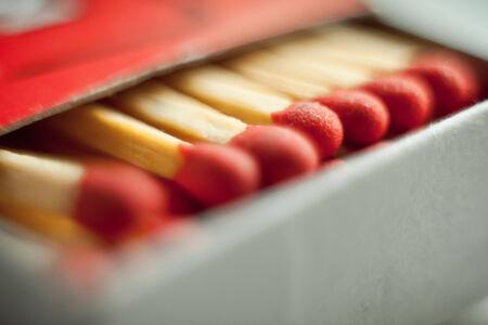 firestarter: Macro shoot of red matchsticks in the box