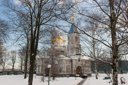 Cathedral ancient Russian architecture. A big white stone church with golden domes Stock fotó