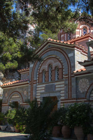 hermits: View the monastery of St. George Selinaris on the Crete Stock Photo