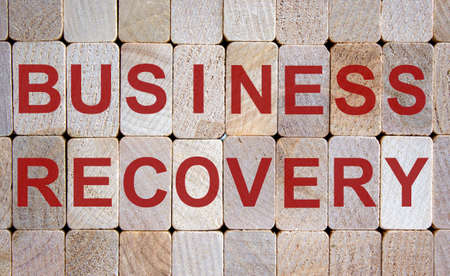 Wooden blocks form the words 'business recovery'. Beautiful wooden background.