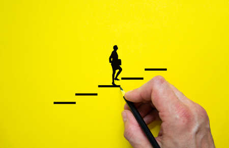 Conceptual image of personal vision, education and development. Beautiful yellow background, copy space.