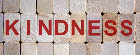Wooden blocks form the word 'kindness'. Beautiful wooden background. Banco de Imagens