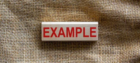 Wooden block form the word 'example' on beautiful canvas background. Business concept.