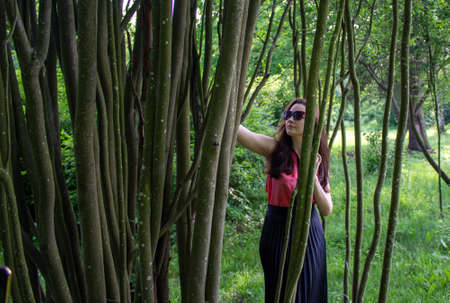 Young girl in sunglasses behind tree trunks. A girl dressed in a pink blouse and a black skirt stands with her hands on tree trunk.