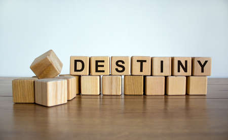 Concept word 'destiny' on wooden cubes on a beautiful white background. Wooden table. Copy space. Business concept. 免版税图像