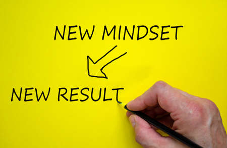 Business planning and vision concept. Hand writing 'new mindset, new result', isolated on yellow background.